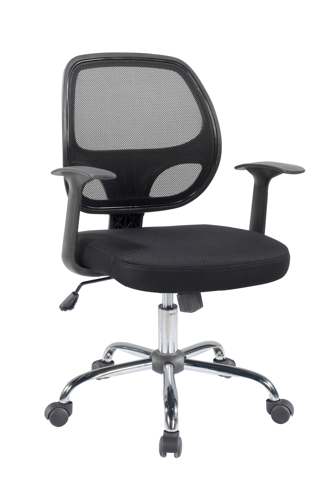 Ergonomic Mid back Office Chair Chrome base, Lumbar Arm Black padded Mesh Chair