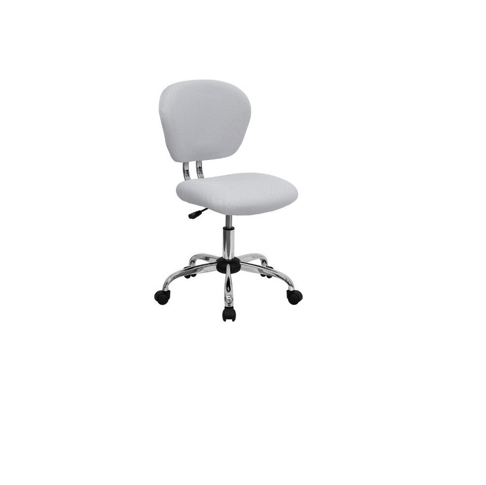Ergonomic Mesh Midback Swivel Office Chair, White padded seat chrome base