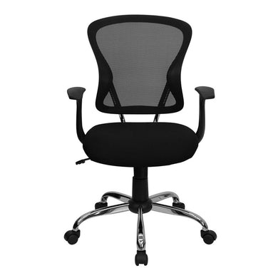 Office Mid back Adjustable Swivel Task Chair Chrome base, Arm White Mesh Chair