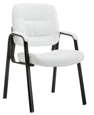 BTEXPERT Leather Chair Reception Side Conference Waiting Room Guest Chair White