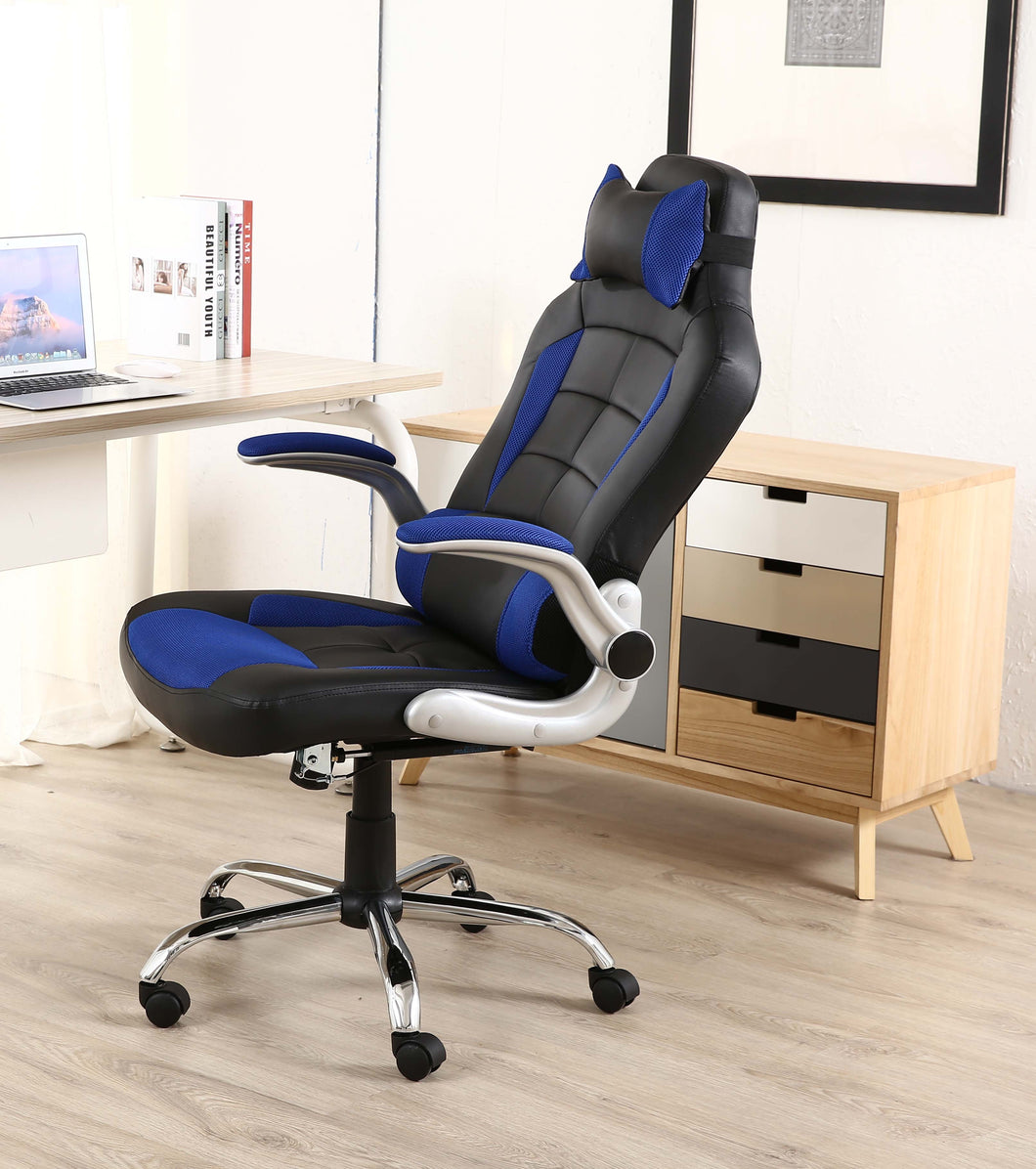 ... BTEXPERT Leather Office Gaming Chair Napping Tilt Pillow Headrest  Lumbar Support ...