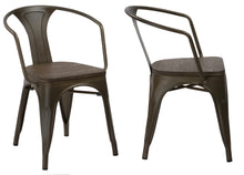 Industrial Rustic Metal Distressed Dining Bistro Cafe Arm Chair Wood, Set of 2