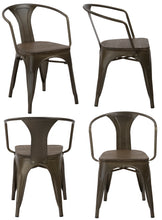 Industrial Antique Bronze Dining Commercial Metal Wood Arm Chair, Set of 4