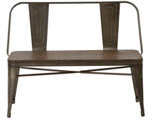 Industrial Antique Rustic Wood Metal Dining Bench Full Back Garden Patio