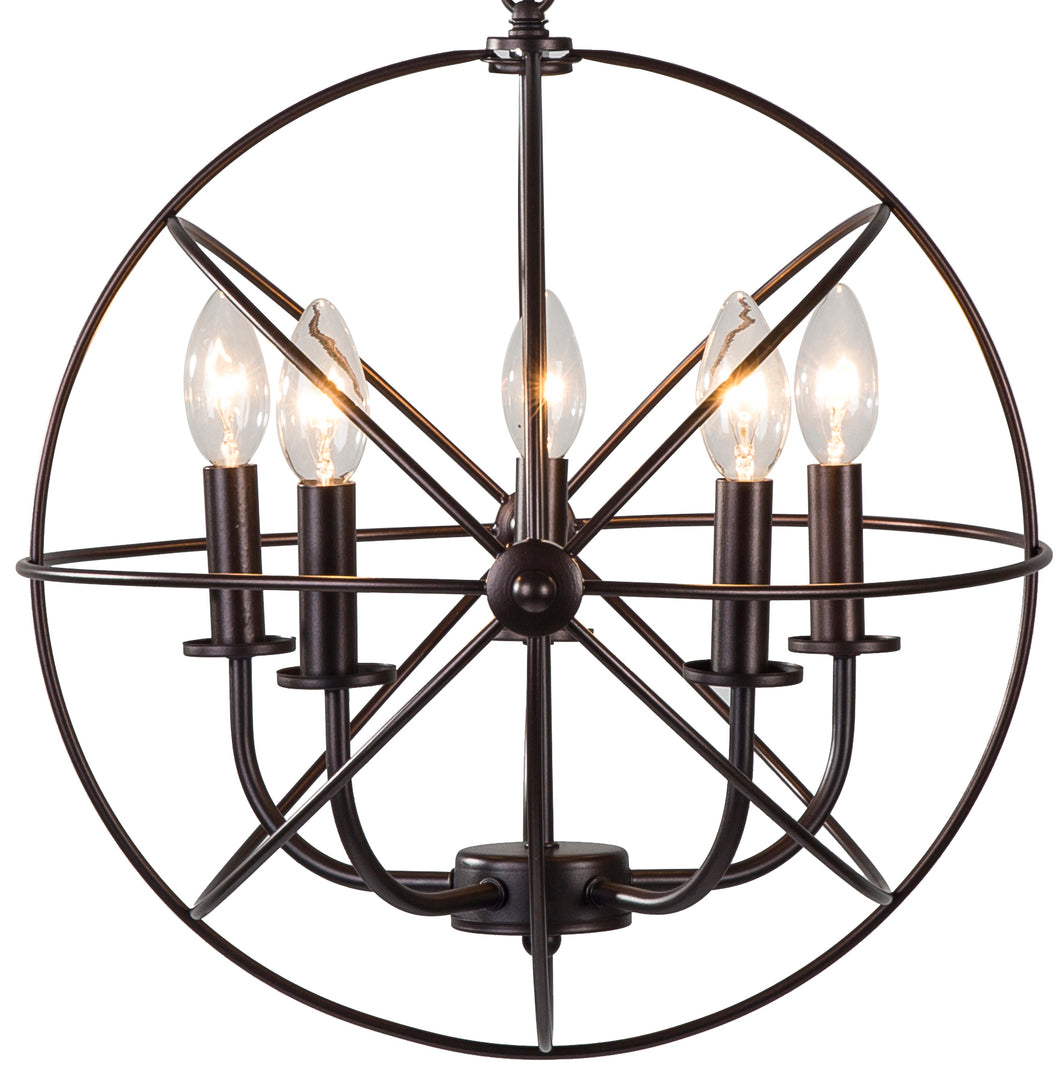 Industrial 5 Light Hanging Farmhouse Orb Ceiling Chandelier Fixture Bronze