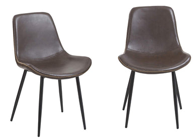 BTEXPERT 5088-2 Vintage Brown Upholstery PU Leatherette Dining Chairs-Rustic Set of 2