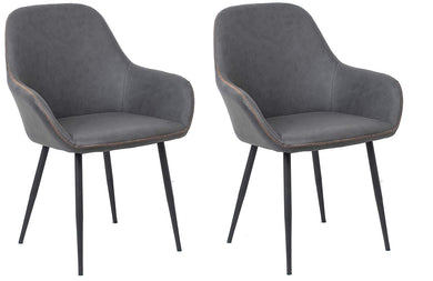 BTEXPERT Bucket Upholstered Dark Gray Accent Chair Set or 2