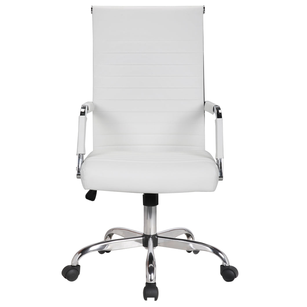 High Back Fuax Leather Chair, White upholstery Work Computer Office Chair Tilt Seat Designer Executive Manager Conference Ergonomic Swivel Chair
