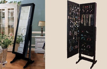 Premium Black Cheval Mirror Jewelry Cabinet Armoire Box Stand Organizer Case