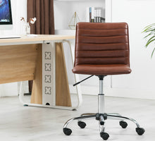Ergonomic Mid Back PU Leather Swivel Designer Manager Conference Work Task Computer Office Ribbed Chair
