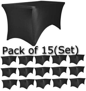 BTEXPERT Kitchen Stretchable Black Tablecloth Set of 15 Pack, Stretch/Fitted Table Covers for 6 Feet Folding Table, Rectangular Spandex Cloths for Wedding Party or Event