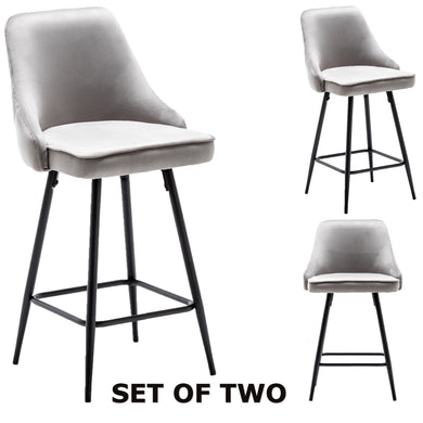 Afia Premium Upholstered Modern Premium Stool Bar Chairs Set of 2