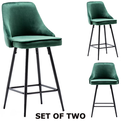 Faiza Velvet Geen Upholstered Modern Premium Stool Bar Chairs