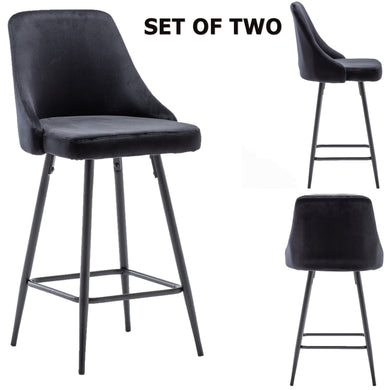 Hafsa Velvet Black Upholstered Modern Premium Stool Bar Chairs
