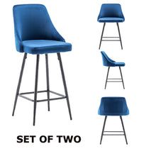 Chacha Velvet Blue Upholstered Modern Premium Stool Bar Chairs Set of 2