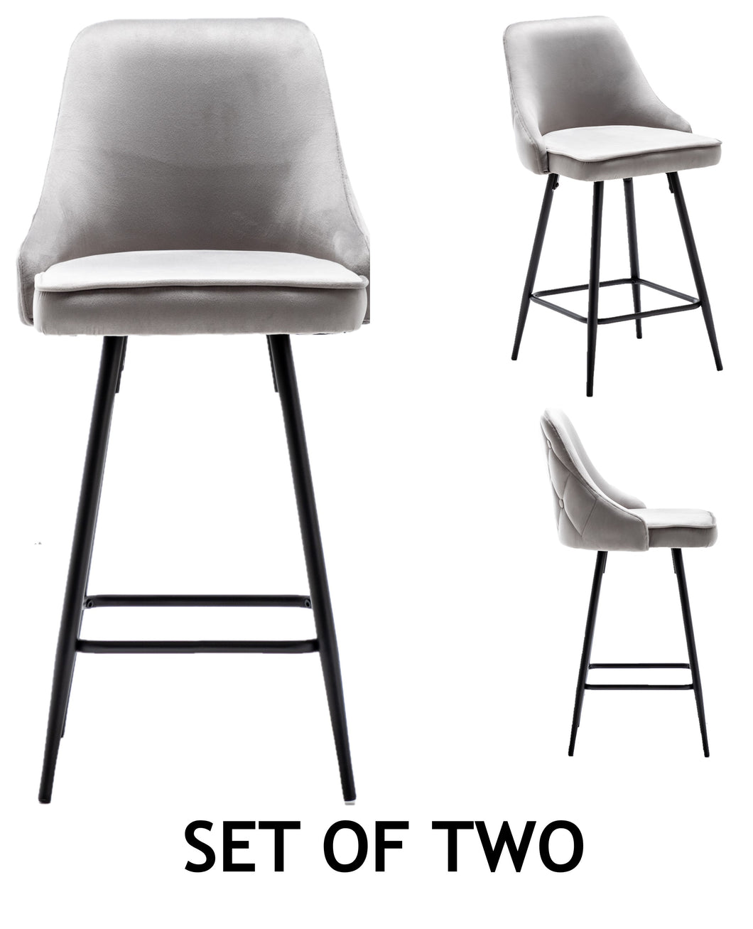 Tasleem Velvet Gray Tufted Upholstered Modern Premium Stool Bar Chairs Set of 2