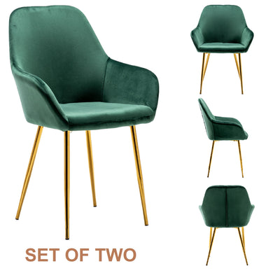 Tasmia Premium Emerald Green Accent Bucket Upholstered Modern Dining Chairs Set of 2