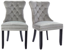 High Back Velvet Tufted Nailhead Upholstered Dining Chairs, Set of 2, Solid Wood, Ring