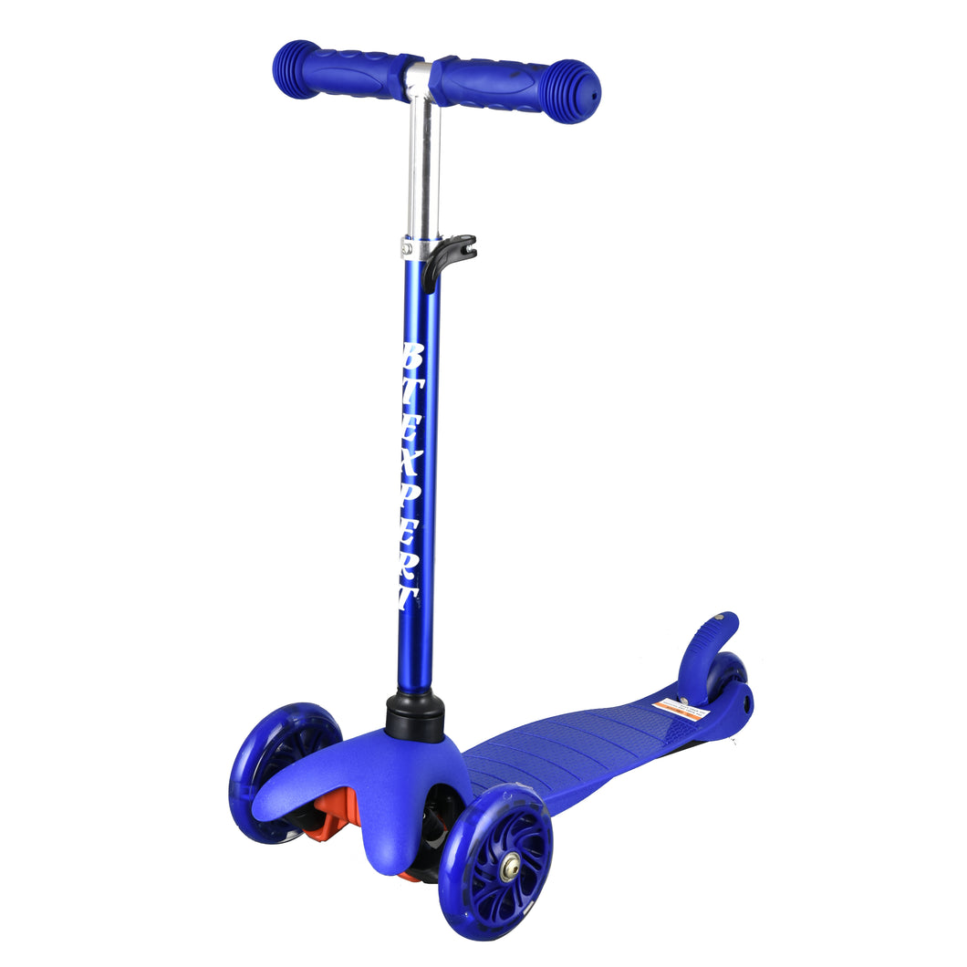 BTEXPERT Indoor Outdoor Height Adjustable and T-Bar Kids Mini Kick Scooter LED 3 Lights Wheels