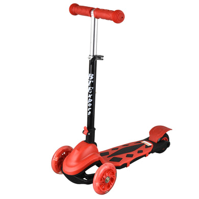 Kids Foldable Kick Scooter 3 Wheels LED lights 4 Adjustable Heights and T-Bar Boys and Girls Ages 3-5