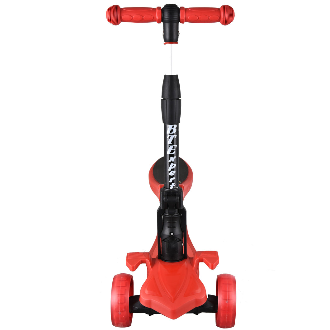 Kids Foldable Kick Scooter 3 Wheels Removable Seat LED lights 4 Adjustable Heights and T-Bar Boys and Girls Ages 3-5