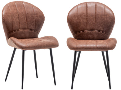 BTEXPERT Bucket Upholstered Antique Brown PU Leather Accent Dining Chair Set of 2