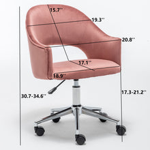 Btexpert Vanity Velvet RoseGold Makeup Dressing Office Task Work Adjustable Height Laiba Chair