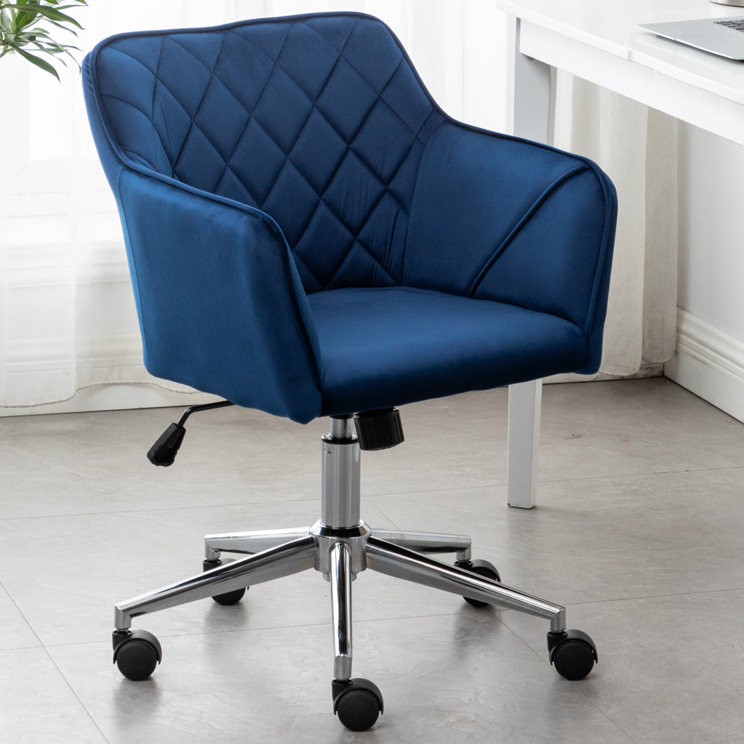 Executive Chair Blue Bucket Office 360 Swivel Diamond Tufted Plush Make-Up Vanity Office Job
