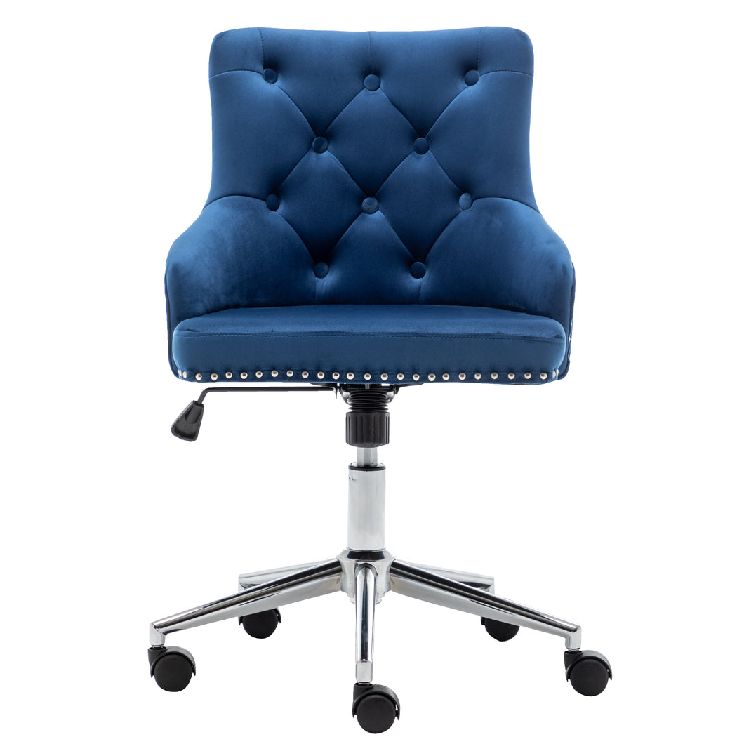 Adjustable Velvet Navy Blue Tufted Leisure Chrome Nail Head Trim Upholstery Home Office Chair
