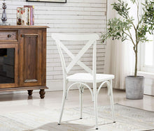 White Cross Back Metal Industrial Modern Vintage Farmhouse Dining Chair, Set of 2