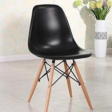 Eiffel Natural Wood Legs Dining Side Chair Black DSW Set of 4