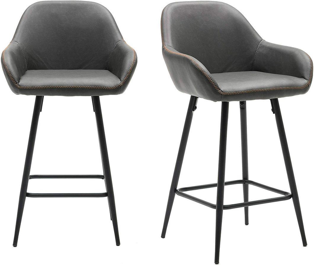 BTEXPERT 25 inch Bucket Upholstered Dark Gray Accent Dining Bar Chair Set or 2