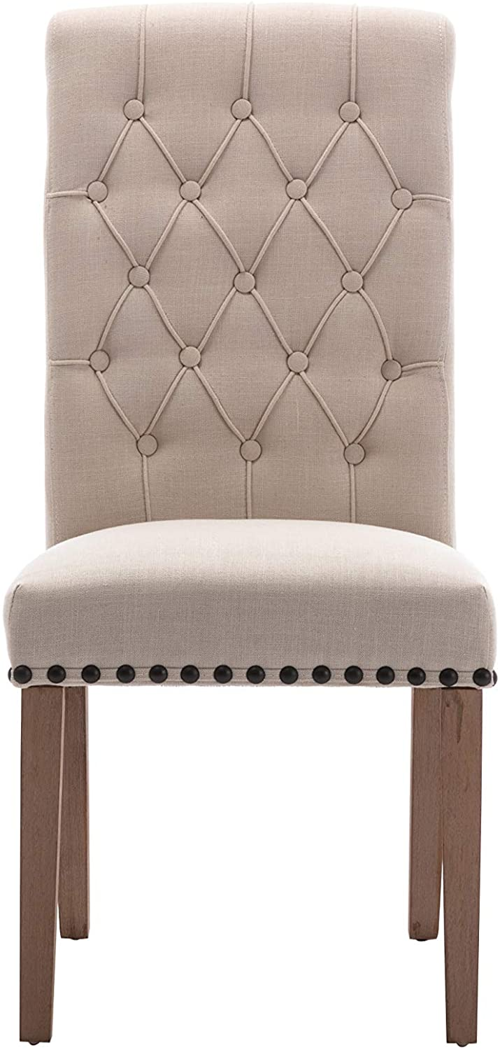 Tufted High Back Accent Upholstered Padded Dining Room Chairs Side Solid Wood - Nail Trim Linen Beige