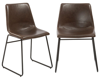 Btexpert Leather Upholstery Dining Chairs, Set of 2, Brown Rustic Style