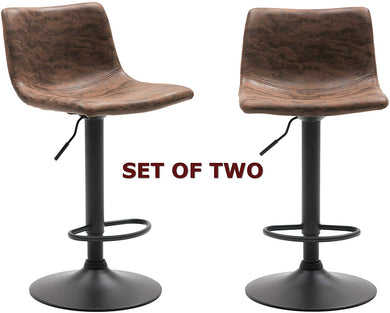 BTEXPERT Adjustable Metal upholstered Swivel Vintage Brown Kitchen Dining Bar Counter Stool Chair Set of 2, Back