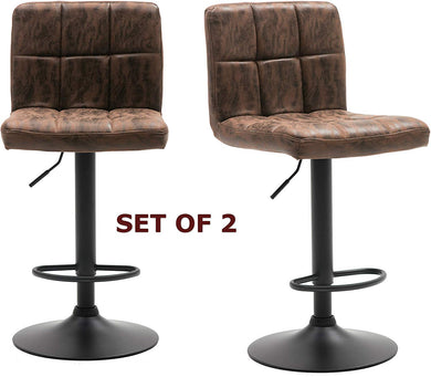 BTEXPERT Adjustable Industrial Metal upholstered Swivel Vintage Brown Rustic Dining Barstool Chair Set of 2, Back