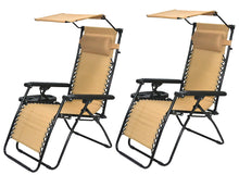 Outdoor Zero gravity Chair lounge patio Canopy shade Cup tray Tan Beige 2 case