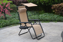Zero gravity Chair lounge outdoor patio Canopy Sunshade Cup Holder Tan Beige