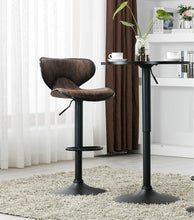 "BTEXPERT Industrial Adjustable 27-36"" Height Metal Bar Table Swivel 23.8 Round MDF Wood Top Cocktail Pub Bistro Black Base"
