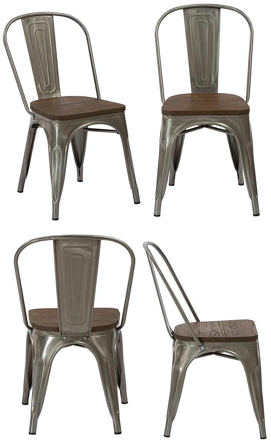 Industrial Wood Antique Gunmetal Rustic Distress Dining Chairs, Set of 4