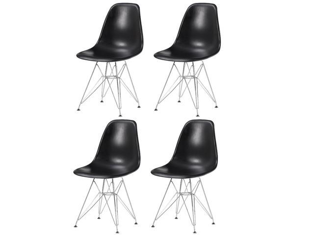 Eiffel Chrome Wire Legs Dining Side Chair Black DSR Set of 4