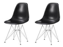 Eiffel Chrome Wire Legs Dining Side Chair Black DSR Set of 2