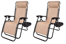 Zero gravity Chair Outdoor lounge patio beach Cup tray Tan Beige Two 2 pcs case
