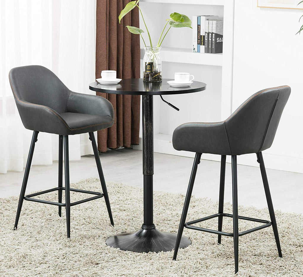 25 Inch Bucket Upholstered Dark Gray Accent Dining Bar Chair Set Or 2 Btexpert