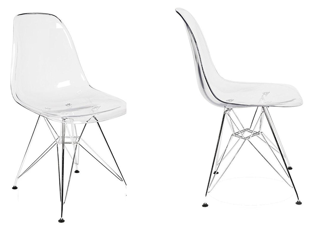 Eiffel Clear Transparent Acrylic  Lounge Side Chair Metal Leg Set of 2