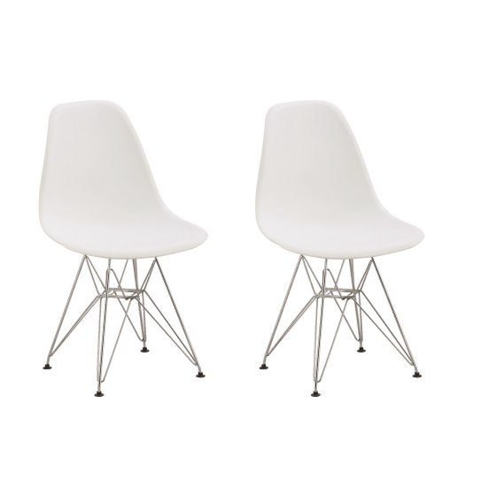 Eiffel Chromed Wire Dowell Legs Dining Side Chair White DSR Set of 2