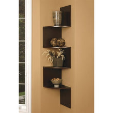 Brown Finish Large Corner Zig Zag Wallmount Wall Shelf decor