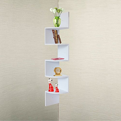 White Finish Large Corner Wall Mount hanging Zig Zag Wallmount Shelf decor