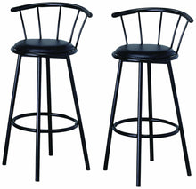 "29"" Black Finish Swivel Dining BarStool Chairs 2 pack"