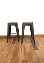 "24"" Industrial Antique Rustic Distressed Metal Barstools 2 pack"